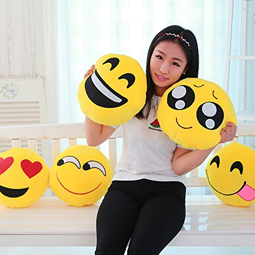 "13.8"" Emoji Eager Emoticon Round Cushion Pillow Stuffed Plush Soft Toy Gift"
