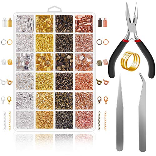 Jewelry Making Supplies - 1540Pcs Jewelry Findings Kit Extended Chain with Lobster Clasp Spring Clasp End Caps Jump Ring Ribbon Ends for Necklace DIY Making