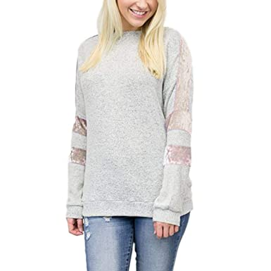7d3aee912459 HWTOP Bluse Pullover Tops Shirt Für Damen Sweatshirts Hoodies Oberteil Hemd  Sport Freizeit Bauchfrei Stickerei Kleidung Streifen Patchwork Blumenmuster  ...