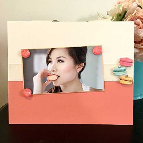 Le Macaroon - Magnetic Picture Frame Handmade Gift Present Home Decor by Frame A Memory Size 9 x 11 Holds 5 x 7 Photo - Woman Girl Teen Girly Cream Coral