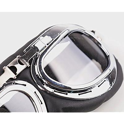 XYZCTEM Aviator Pilot Motorcycle Half Helmet Goggles Flying Motorcycle Biker Motocross Cruisers Sun UV Wind Eye Protect: Automotive