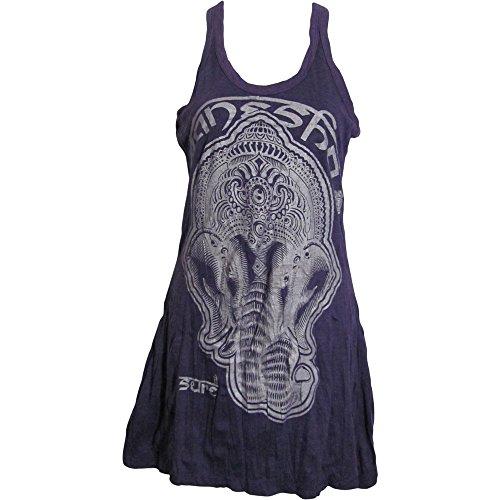 Sure Hippie Yoga Purple Ganesh Crinkled Cotton Tank Top Blouse No119 ()