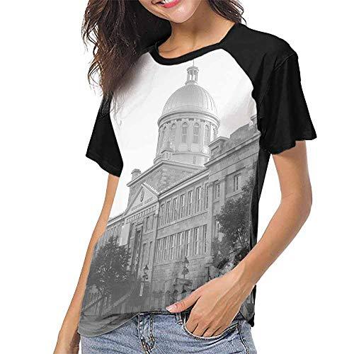 Crew Neck Short Shirts,Kingston, Canada City Hall S-XXL Women's Sleeve -