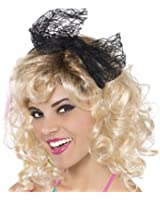 """: Amscan Awesome 80's Party Lace Headband with Bow (1 Piece), black Color, 8 x 3.7"""""""