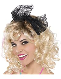 Awesome 80's Party Lace Headband with Bow (1 Piece), black Color, 8 x 3.7