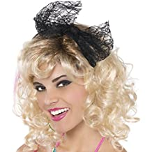 : Amscan Awesome 80's Party Lace Headband with Bow (1 Piece), black Color, 8 x 3.7""