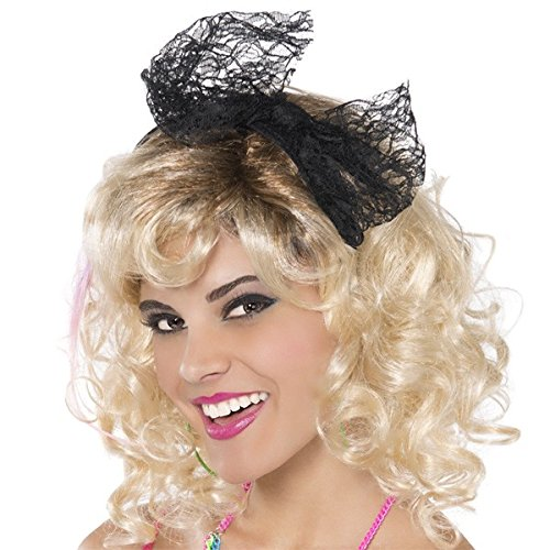 [: Amscan Awesome 80's Party Lace Headband with Bow (1 Piece), black Color, 8 x 3.7