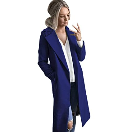 KFSO Womens Lapel Wool Blend Longline Winter Fall Warm Coat Overcoat (Blue, ...