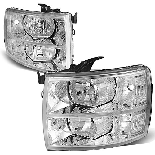 For 07-14 Chevy Silverado Pair Chrome Housing Clear Corner Headlight/Lamps ()