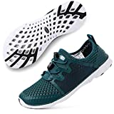 ALEADER Womens Tennis Walking Shoes, Fashion Sneakers for Land/Water Sports M.Green/White 9.5 B(M) US