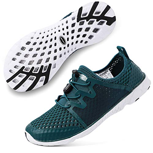 ALEADER Womens Tennis Walking Shoes, Fashion Sneakers for Land/Water Sports M.Green/White 7 B(M) US