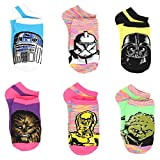 Star Wars Girls Teen Adult Womens 6 pack Socks (9-11 Womens (Shoe: 4-10), Galaxy Neon Heather)
