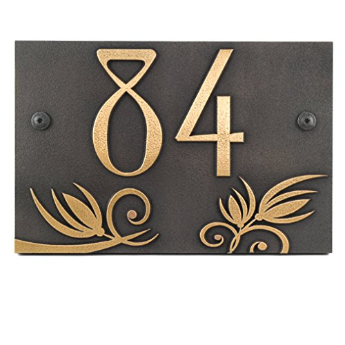 Flowers on a Rectangle Plaque 12x8 - Raised Brass Coated by Atlas Signs and Plaques