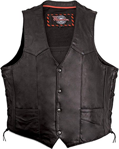 Milwaukee Motorcycle Clothing Company Mens Side Lace Vest with Gun Pocket (Black)