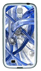 3D Blue Piping TPU Rubber Soft Case Cover For Samsung Galaxy S4 SIV I9500 White by kobestar