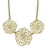 Rose Three Blooms Collar Necklace (24k Gold-Plated) by Mercedes Shaffer