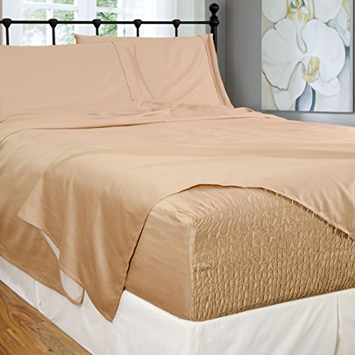 Bed Tite Stretch Fit 300-Thread Count 100-Percent Cotton Ultra Luxurious Deep Pocket Sheet Set (Full, Taupe)
