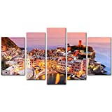 My Easy Art® 5 Pieces Modern Canvas Painting Wall Art The Picture For Home Decoration Vernazza Village Cinque Terre National Park Sunset Italy Bay Seascape Print On Canvas Giclee Artwork For Wall Decor