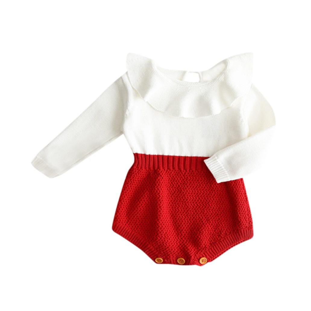VENMO Winter Cute Baby Girls Romper Jumpsuit Ruffle O Neck Knitted Sweater Long Sleeve Infant Playsuit Boysuit Outfit Baby Clothes, 3-24 Months
