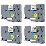 TZe-231 Label Tape, LaBold 4 Pack Black on White Standard Laminated Labeling Tape 1/2'' X 26.2'(12mm x 8m) Compatible for Brother P-touch TZ TZe 231 TZ-231 --BUY FROM FACTORY STORE: Label Tape World