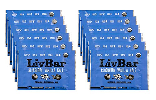 LivBar Organic All Natural Macro Snack Bar – Blueberry Vanilla Kale, 12 Count – Healthy & Delicious Non GMO Gluten, Nut, Soy, and Dairy Free Protein Bar with Low Sugar.