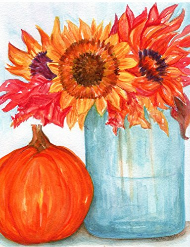 Sunflowers PRINT of painting, 5 x 7, leaves,
