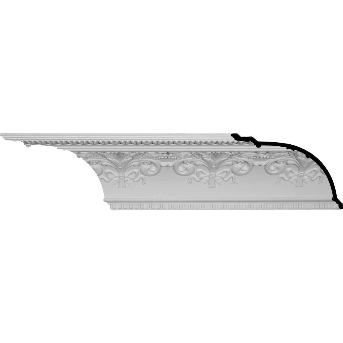Ekena Millwork MLD11X16X19SY-CASE-12 11-3/8'' H x 16'' P x 19-5/8'' F x 95-7/8'' L Sydney Crown Molding with 16'' Repeat (12-Pack)