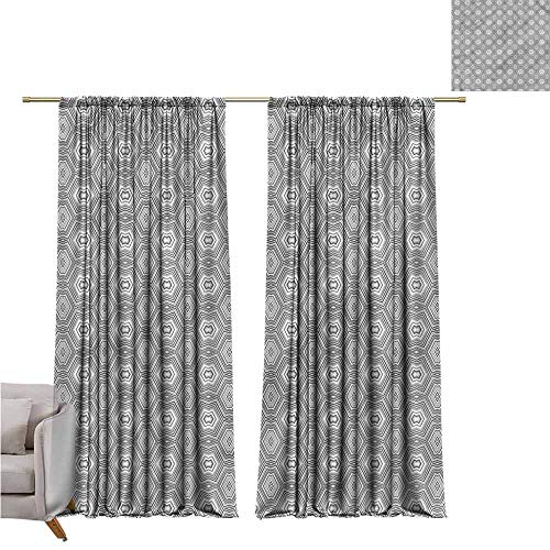 (zojihouse Grey and WhiteBedroom and Living Room Curtains Kaleidoscope Forms W82xL72)
