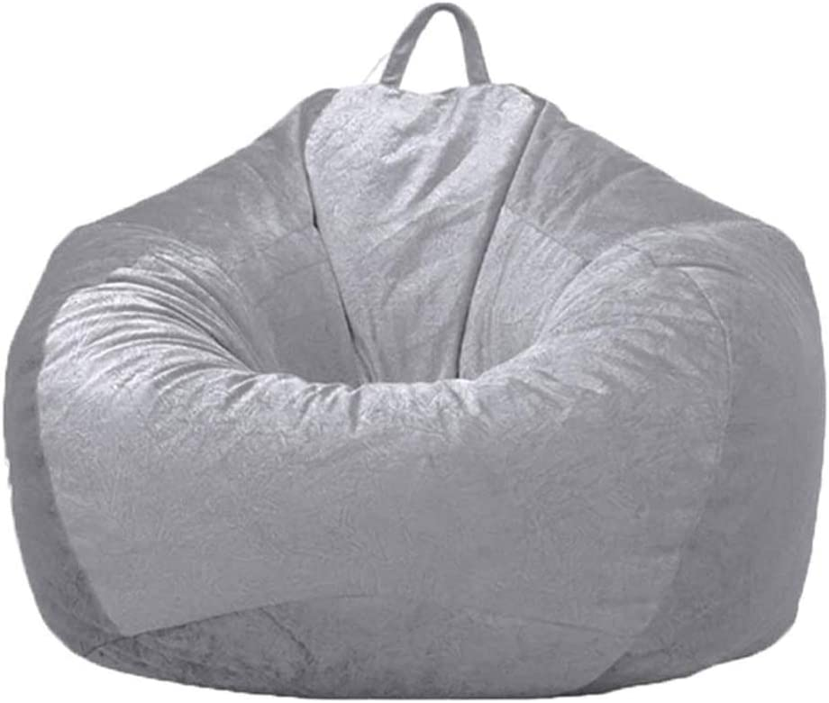"""WAQIA 36""""×43"""" inch Large Stuffed Animal Storage Bean Bag Cover (No Filler), Soft Microsuede Bean Bag Chair Cover, Plush Toy Organizer for Kids and Adults (Light Gray)"""