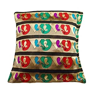 Decorative Black Cushion Cover Brocade Paisley Pattern Designer Pillow Case India 16'' Inches