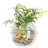 SWS-TECH Acrylic Round Wall Mount Fish Bowl Tank Aquarium Aquatic Flower Plant Vase for Decor