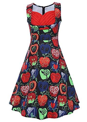 Las mujeres de la vendimia de impresión floral partido cuello en V sin mangas swing vestido vestido de cóctel Sin mangas - Apple Print Negro