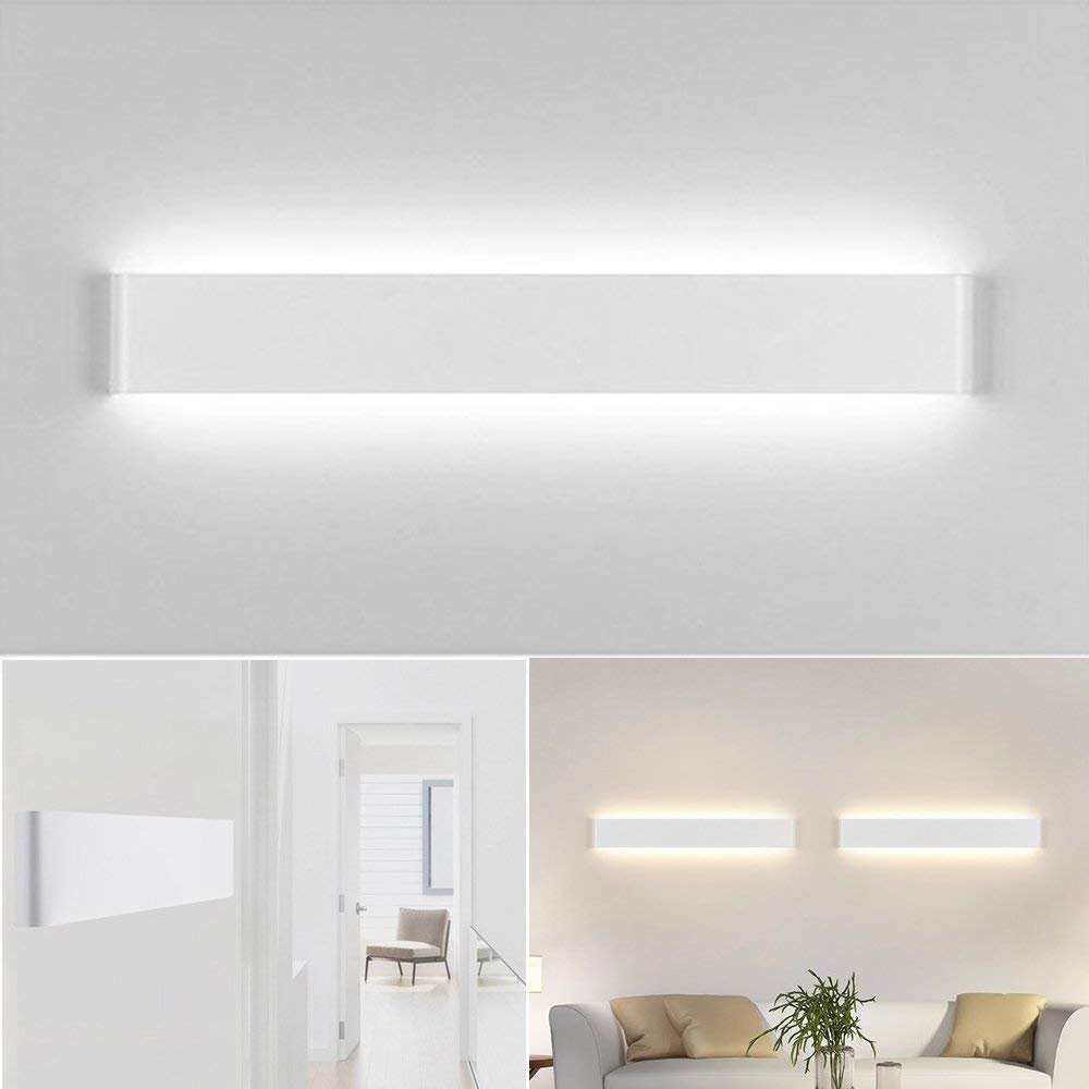 Yafido 2x Aplique Pared Interior LED 12W L/ámpara de pared Blanco C/álido AC 220V para Salon Dormitorio Sala Pasillo Escalera Acr/ílico 30CM Pack de 2