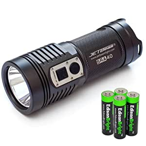 JETBeam SRA40 960 Lumen CREE XM-L LED compact flashlight/searchlight with 4 X EdisonBright AA Alkaline batteries