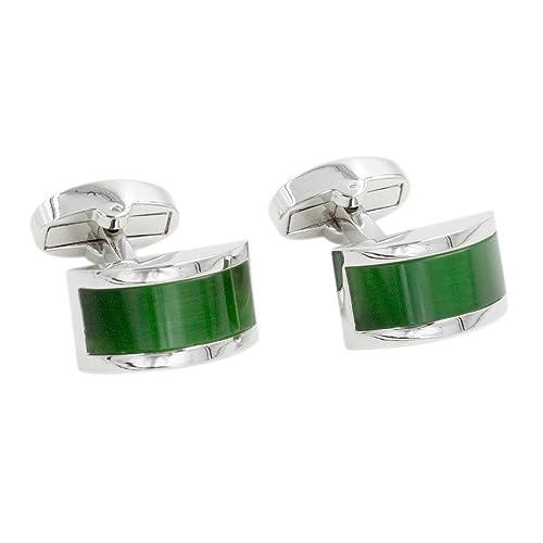 Gemelos con piedra verde esmeralda | 5 años de garantía ...