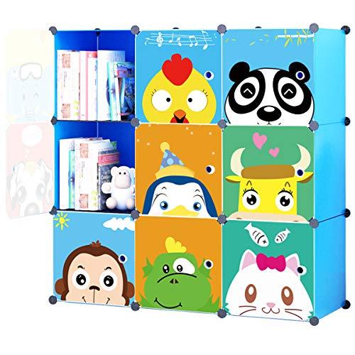 KOUSI Portable Kids Bookshelf Children Toy Organizer Multifuncation Cube Storage Shelf Cabinet Bookcase, Capacious & Study, Blue:9 Cubes (Bookcase Footboard)