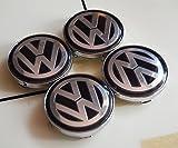 Hanway Brand New 4pcs 60mm Aluminum VW Wheel Center Caps Sticker Volkswagens LOGO Badge Emblem Polo Bora Passat Golf