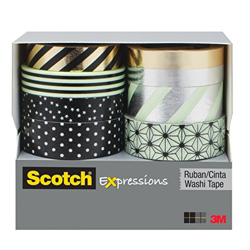 Scotch Expressions Washi Tape Multi Pack, 8 rolls/pk, Mint, Black and Metallic Dots and Stripes Collection (C1017-8-P1)