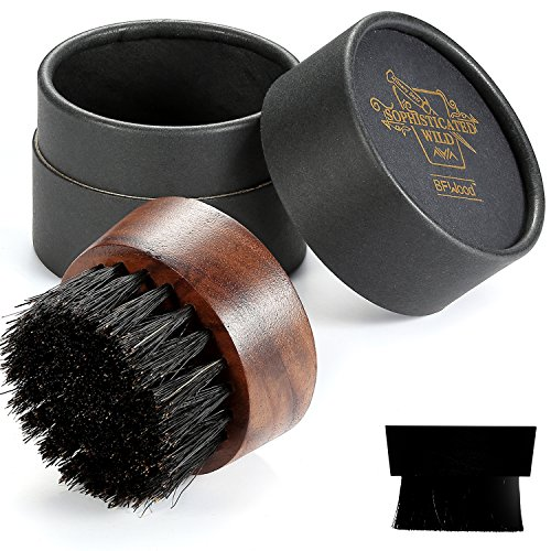 - BFWood Beard Brush for Men - Boar Bristles Small and Round - Black Walnut Wood