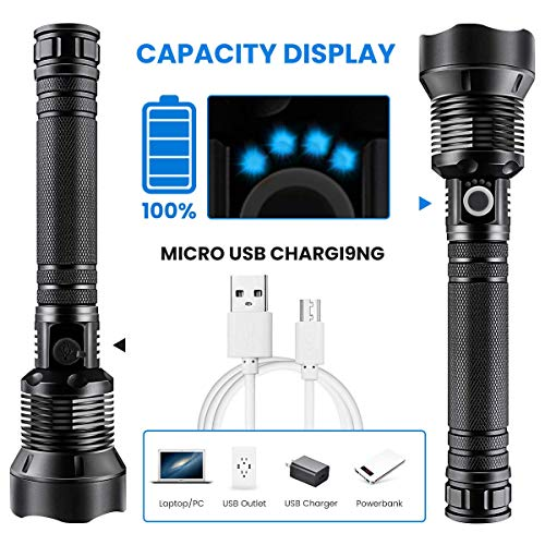LED Flashlight, 90000 Lumens, Zoomable & Most Powerful Torch with 26650 Battery & USB Rechargeable, 3 Modes Searchlight for Outdoor or Home Emergency (P70 Flashlight - Black)