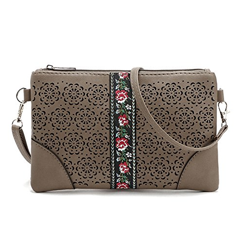 Brown Phone Purse Crossover Leather DukeTea Girls Small Teen Crossbody Bag Women for wAfPXqT