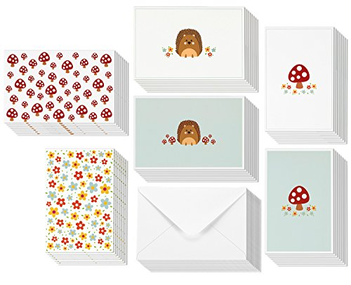 All Occasion Greeting Cards - Blank Inside - 6 Cute Illustrations of Hedgehogs, Mushrooms, and Flowers - Includes 48 Cards with Envelopes - 4 x 6 Inches