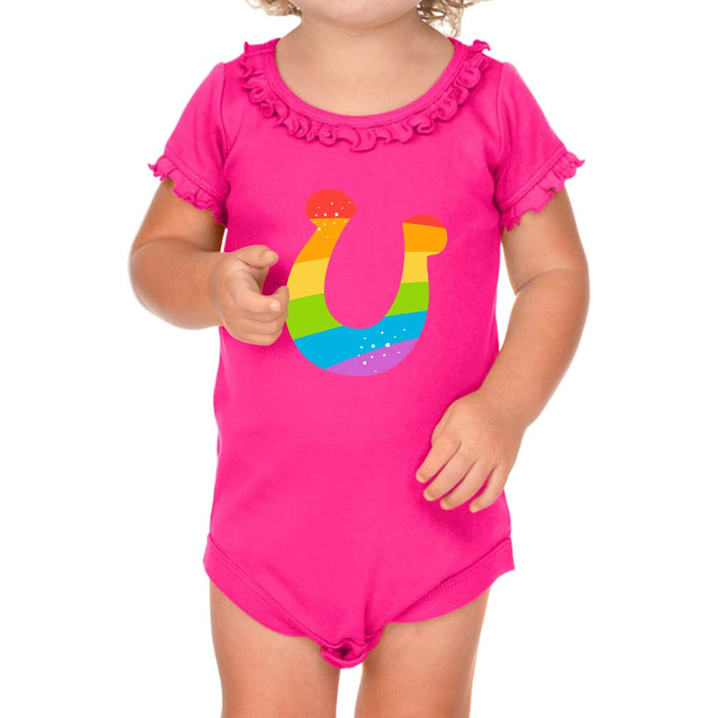 fcdf89e93177 Amazon.com  Lucky Horseshoe Rainbow Short Sleeve Scoop Neck Girl Cotton  Ruffle Bodysuit  Clothing