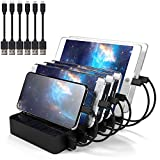Multi Device USB Charging Station for Multiple Devices IMLEZON 6-Port USB Docking Station with Aluminum Covered Base (Black, including Short Cables 3 for Apple and 3 for Android)