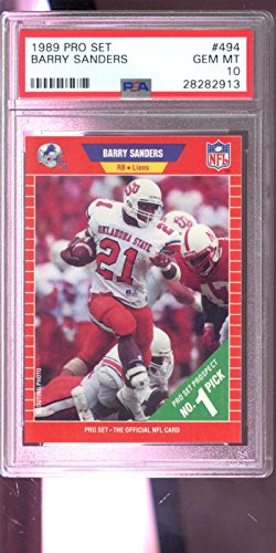 Barry Sanders Pro Football (1989 Pro Set ProSet #494 Barry Sanders ROOKIE RC GEM PSA 10 Graded Football Card)