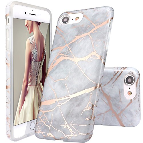 iPhone 6 Case,iPhone 6S Case,DOUJIAZ Gray Rose Gold Marble Design Clear Bumper TPU Soft Case Rubber Silicone Skin Cover for Normal 4.7 inches iPhone 6/6S (Iphone Rubber Skin)