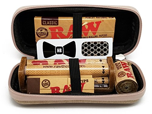 Bundle - 7 Items - RAW Hard Shell Travel Case with 1 1/4 Rolling Paper, 79mm Roller, Tips, Hemp Wick and Hippie Butler Grinder Card ()