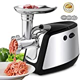 Electric Meat Grinder, Meat Mincer with 3 Grinding Plates and Sausage Stuffing Tubes for Home Use &Commercial, Stainless Steel/Silver/1500W (Silver)