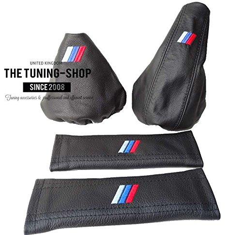 Leder-Schaltungs- & Handbremsmanschette und Sicherheitsgurt-Überzüge, mit MPOWER-Logo, für BMW E36E461991–2005, schwarz