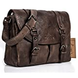 NiceEbag Briefcase Men Messenger Bag Retro Style Genuine Leather Bag Shoulder Bag Fits Up 15.6 Inch Laptop (Bronze)